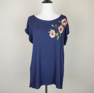 Anthropologie W5 Blue Pink Floral Embroidered Top